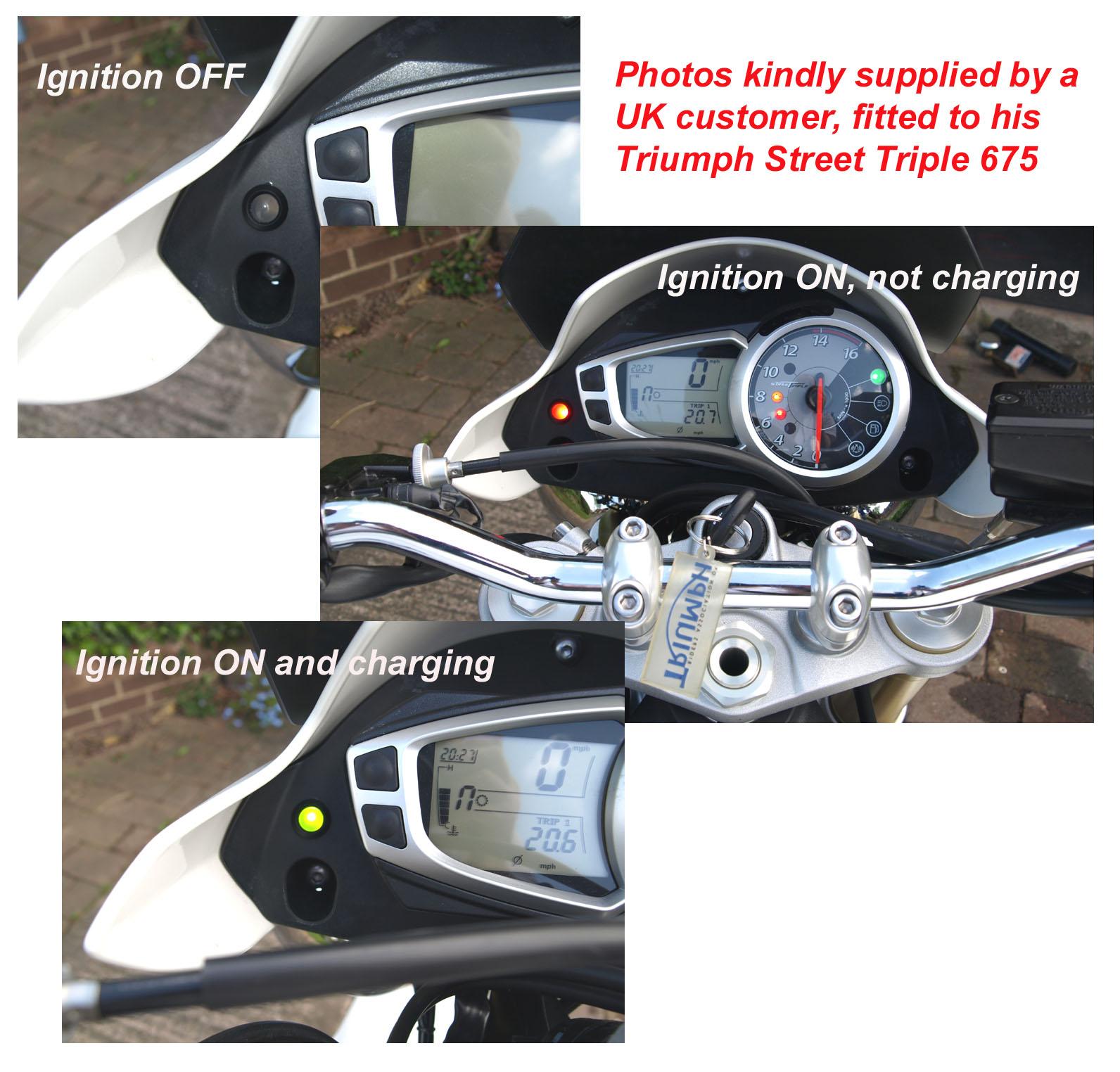 Icmcom Battery Alternator Ignition Warning Lights Charge Monitors Free Harley Davidson Wiring Diagrams 2011 Triumph Street Triple 675 Light